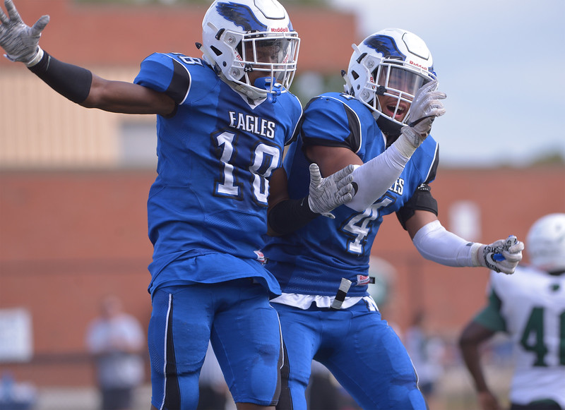 Norristown Boubacar Diawara celebrates his score with John Devine Oct. 7, 2017. / Bob Raines--Digital First Media