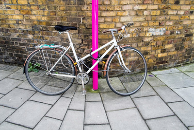 Bicycle by the wall, Hackney Wick, London, United Kingdom