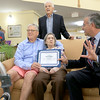 On Thursday Mayor Dean Mazzarella showed up to the Manor on the HIll inLeominster to give Alberta McWilliams a certificate for turning 100. With her is her two son's Jack, standing, and Jim McWilliams. SENTINEL & ENTERPRISE/JOHN LOVE