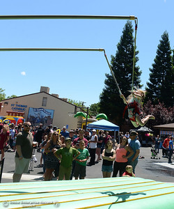 Blyss Ballez, 4, of Oroville, flips and does tricks to cheers from friends and family as Feather Fiesta Days feature a parade, a car show, a chili cook off and more Saturday, May 13, 2017, in downtown Oroville, California. (Dan Reidel -- Enterprise-Record)