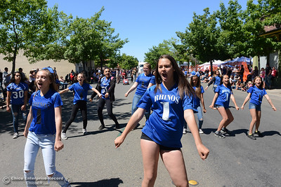 Rhinos cheer team as Feather Fiesta Days feature a parade, a car show, a chili cook off and more Saturday, May 13, 2017, in downtown Oroville, California. (Dan Reidel -- Enterprise-Record)