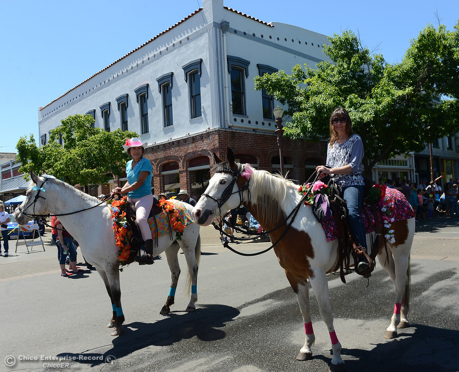 . Linda Chambers, left, on Spice, and Cindy Rubeck, right, on Sapphire, as Feather Fiesta Days feature a parade, a car show, a chili cook off and more Saturday, May 13, 2017, in downtown Oroville, California. (Dan Reidel -- Enterprise-Record)