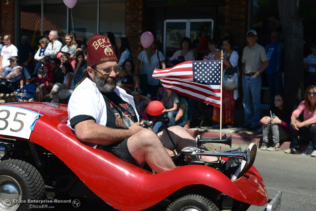 . Jim Robinson leads the Chico Shriners in the parade during Feather Fiesta Days on Saturday, May 13, 2017, in downtown Oroville, California. (Dan Reidel -- Enterprise-Record)