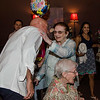 Tom Bissonette greets Eleanor Bissonette at her 100th birthday celebration at Slate Bar and Grill on Friday, July 21, 2017. SENTINEL & ENTERPRISE / Ashley Green