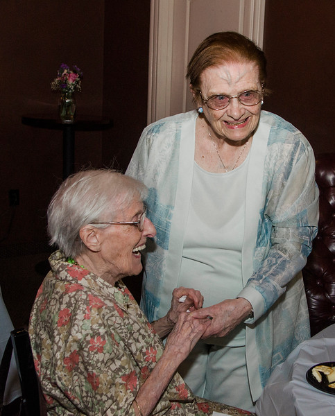 Shirley Bissonette, seated, greets Eleanor Bissonette at her 100th birthday celebration at Slate Bar and Grill on Friday, July 21, 2017. SENTINEL & ENTERPRISE / Ashley Green