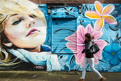 Painted wall off Old Bethnal Green Road, Hackney, London, United Kingdom