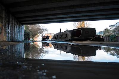 Boats under the bridge, Hackney Wick, East London, London, United Kingdom