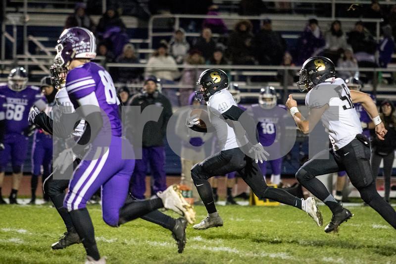 Sam Buckner for Shaw Media.<br /> Gavin Crofoot returns a punt for a touchdown on Friday October 11, 2019 at Rochelle High School.