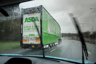 Driving in bad weather on A40, London, United Kingdom