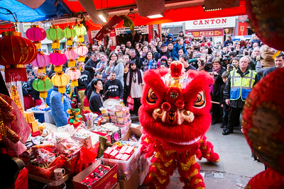 Dragon dance, West End, Chinese New Year celebrations, London, United Kingdom