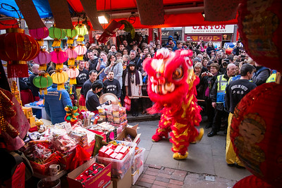 Dragon dance, West End, Chinese New Year celebrations, London, United Kingdom