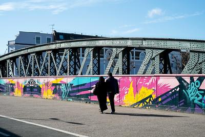 Painted bridge in Camden, NW1, London, United Kingdom