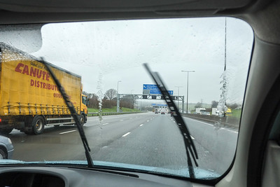 Driving on motorway in bad weather, United Kingdom