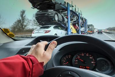 Driving on motorway in bad weather, United Kingdom