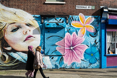 Mural on the wall in Hackney, London, United Kingdom