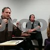 Christopher Heimerman – cheimerman@shawmedia.com<br /> Fred Markowitz, NIU sociology professor and also the lead negotiator for the United Faculty Alliance, makes a point during Bunsis' presentation.