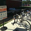 Zager bike rack, between library and gymnasium