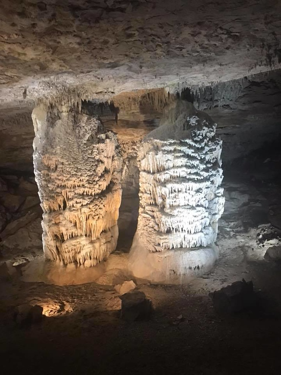 ". These pillars, often referred to as ""the twins\"" are found inside Fantastic Caverns. (Harley Marsh/The News-Herald)"