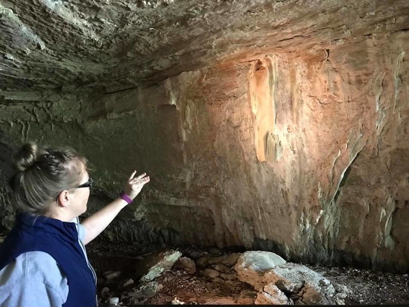 . Tour guides at Civil War Caves offer information about how caves are formed. (Harley Marsh/The News-Herald)