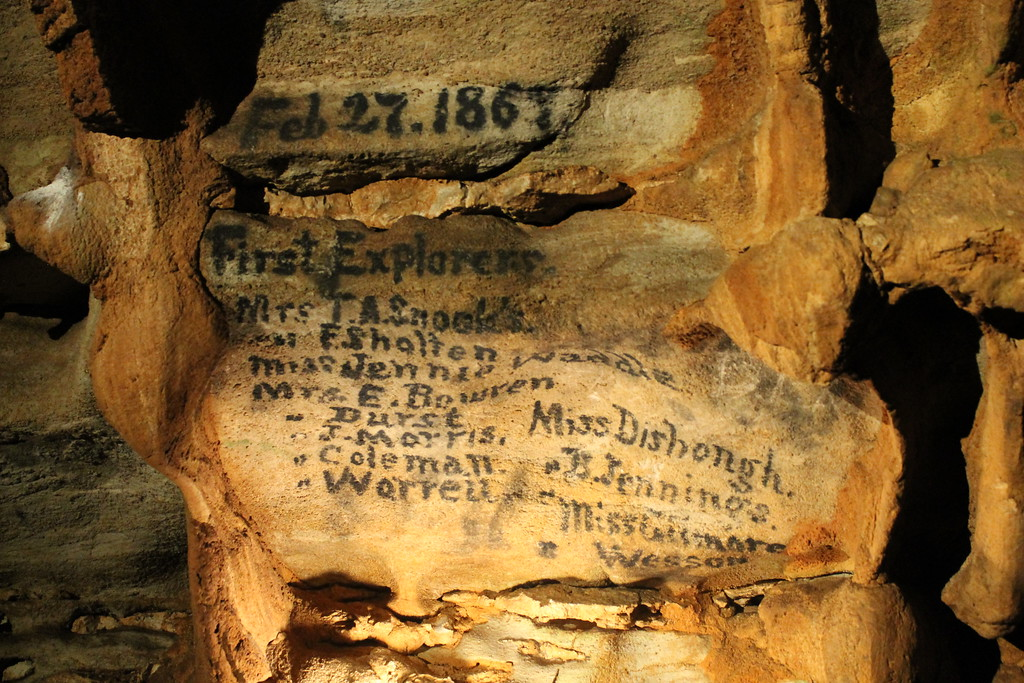 . The names of the girls who first explored Fantastic Caverns in 1867 are still visible. (Harley Marsh/The News-Herald)