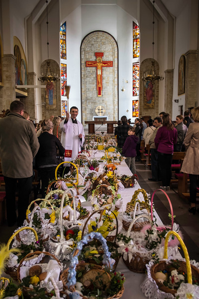 Easter Holiday food blessing, Starachowice, Poland