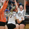 Sam Buckner for Shaw Media.<br /> Lydia Sabanish, Hannah Oehlberg and Anna Friedlund celebrate a point against Sycamore on Tuesday October 17, 2017 at Dekalb High School.
