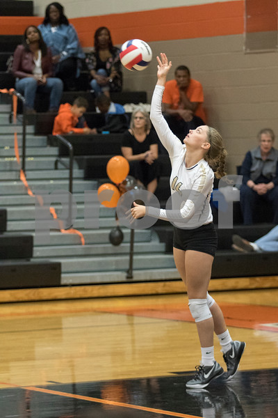 Sam Buckner for Shaw Media.<br /> Sydney Blackburn serves the ball to Dekalb on Tuesday October 17, 2017.
