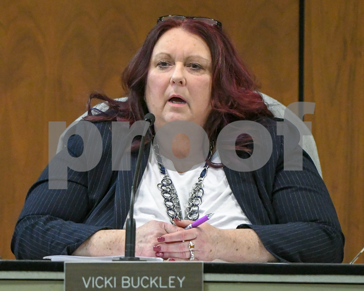 Planning and zoning member Vicki Buckley raisers her concerns on the matter of all the issues that were talked about during the public hearing matter of turning the old movie theater into stores and residential that would need a special permit use.