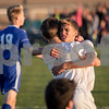 Sam Buckner for Shaw Media.<br /> Zach Smith hugs Tucker Jahns after Jahns scored a goal to put the Knights up 2-1 on Wednesday October 18, 2017.