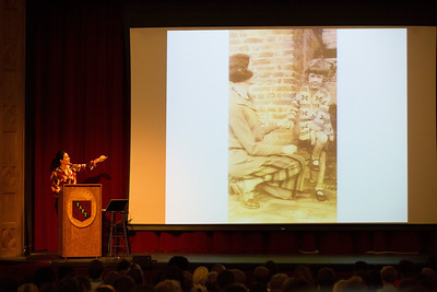 "Kathryn Aalto, author of ""The Natural World of Winnie-the-Pooh: A Walk Through the Forest that Inspired the Hundred Acre Wood"", speaks to students during Morning Meeting."