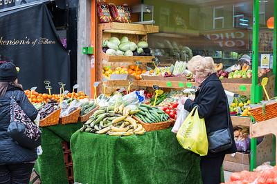 Street market stalls on North End road, Fulham, SW6, London, United Kingdom