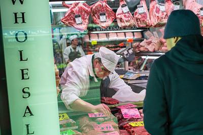 Butcher on North End Road, Fulham, SW6, London, United Kingdom