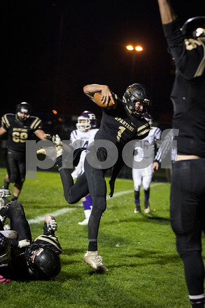 Sam Buckner for Shaw Media.<br /> Ty Sulaver steps into the end zone towards the end of the game against Rochelle on Friday October 21, 2016.