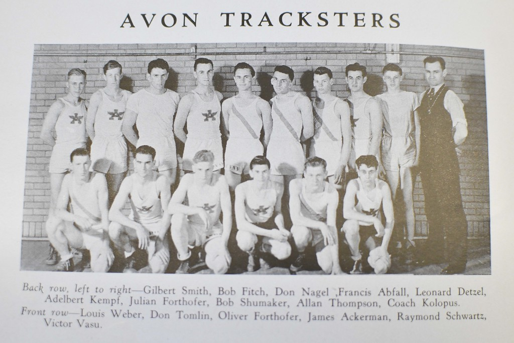 . Pictured in the top row, second from left, Robert Fitch was a member of the 1941 Avon High School track team.
