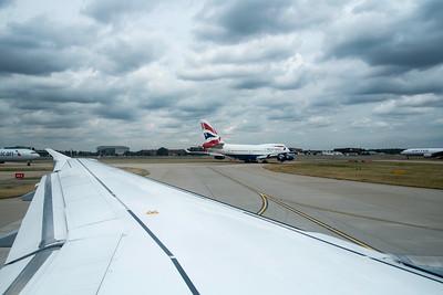 Airplan taxing on a runway, Heathrow Airport, Terminal 1, London, United Kingdom