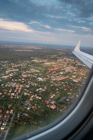 Landing at Warsaw airport, View from a window of an airplane