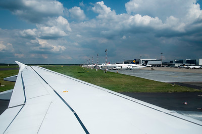 Airplane landing at Dusseldorf airport, Germany