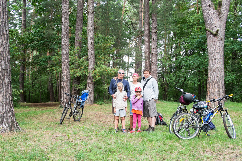 Family on a cycling trip. Giby, Poland
