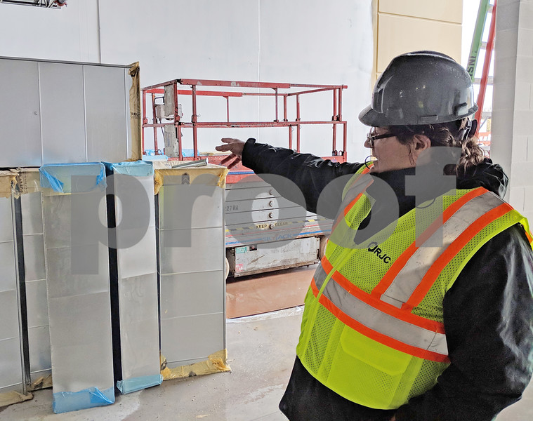 Sycamore Park District executive director Dan Gribble showed where the main entrance to the new community center on Airport Road will be. Still exposed to the elements, he said the center should be enclosed by the end of November and was on pace for an April 14 opening.