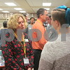 Drew Zimmerman – dzimmerman@shawmedia.com<br /> Betsy Hull (left), finance director of the DeKalb County Community Foundation, speaks with a DeKalb High School student to evaluate her communication skills during a special workshop aimed to assess the soft skills of junior and senior year students.