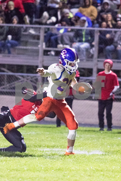 Sam Buckner for Shaw Media.<br /> Justin Peters steps into the endzone in the first quarter against the Cardinals on Friday October 25, 2019 in Stillman Valley.