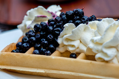 Waffle with blueberry topping, Poland