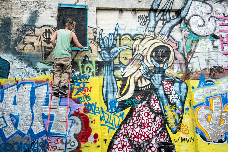 Artist at work, Hackney Wick, E9, London, United Kingdom