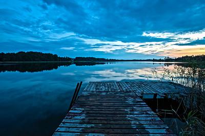Lake Gieret at dusk, sunset, Poland