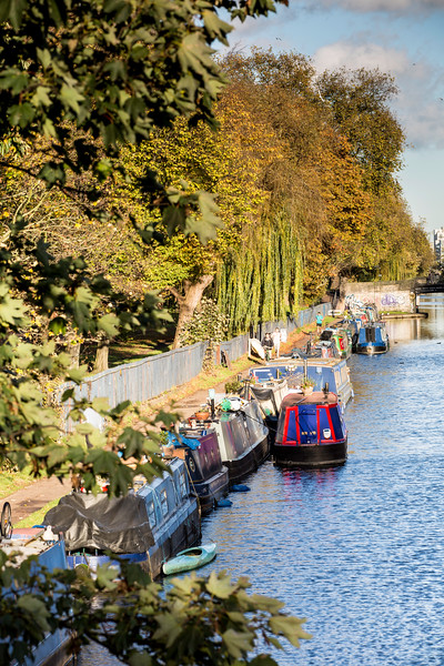 Houseboats along the canal by Victoria Park, Hackney, London, United Kingdom