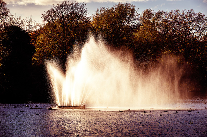 Fountain in the lake, Victoria Park, Hackney, E9, London, United Kingdom