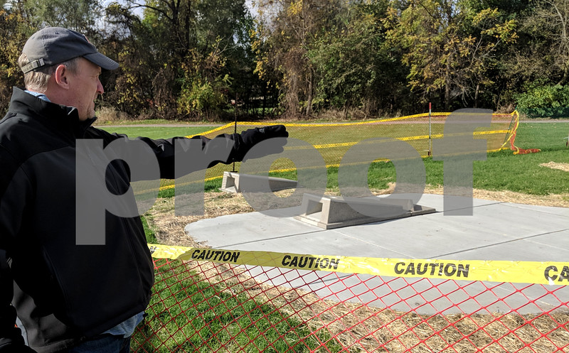 Paul Bafia, executive director of the Genoa Township Park District, said the new bag toss area was made of concrete by Doty and Sons of Sycamore. He said there were few seen outside of the suburbs, and that the park district wanted do something unique.