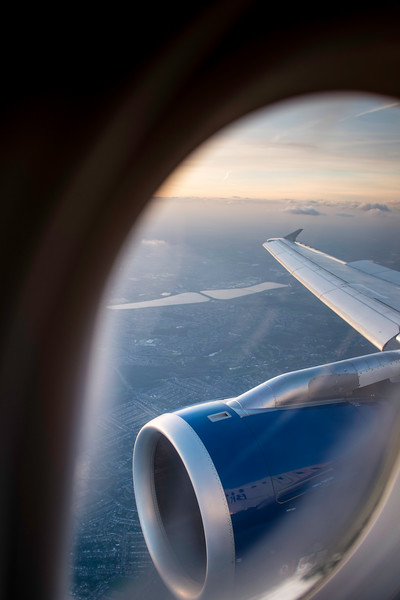 View from a passenger airplane approaching Heathrow, London, United Kingdom