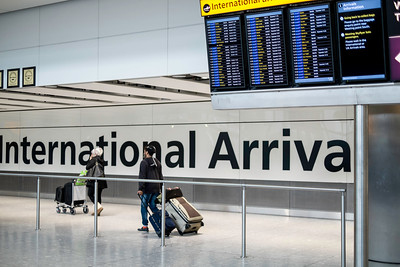 Arrivals Hall, terminal 5, Heathrow airport, London, United Kingdom