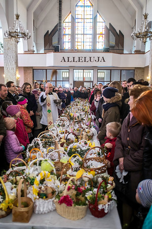 Easter celebrations, food being blessed,  local church, Starachowice, Poland